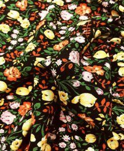 Tissu microfibre motif jardin printanier noir