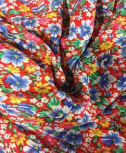 Red spring garden microfiber fabric 2