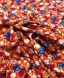 Red spring garden microfiber fabric