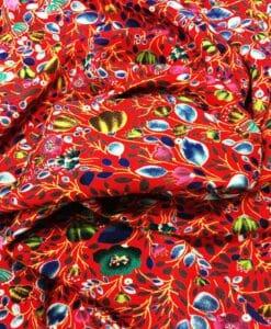 Tissu microfibre motif jardin printanier rouge coquelicot
