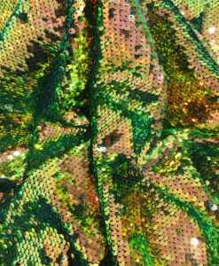 Fabric paillette gold and green chameleon