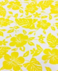 Tissu popeline de coton hawaï jaune