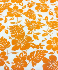 Stoff Hawaii Orange Baumwollpopelin