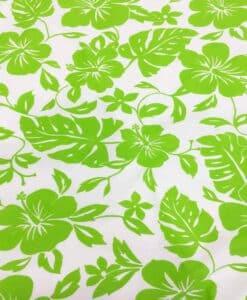 Tissu popeline de coton hawaï vert