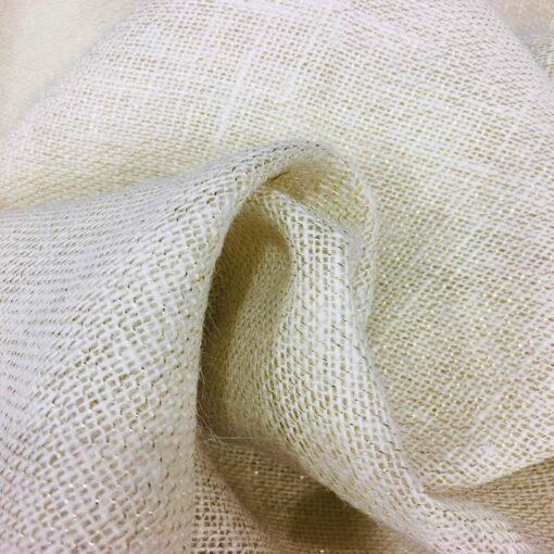 Tissu toile de jute écru avec lurex