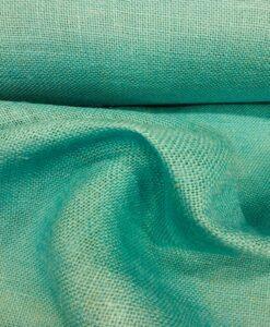 Tissu toile de jute turquoise