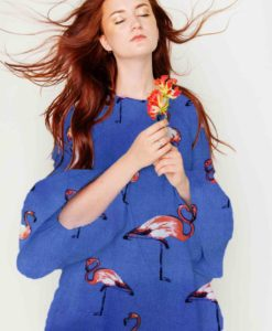 Fabric sailing viscose flamingo blue dress