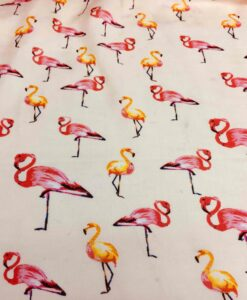viscose print fabric veil off-white flamingo