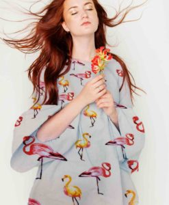 printed viscose fabric sail White flamingo broken dress