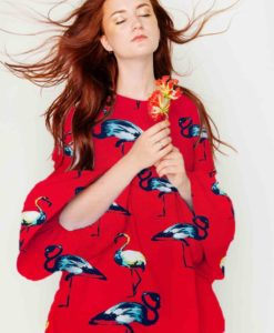 printed viscose fabric sail red flamingo dress