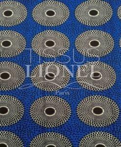 Tissu wax disque bleu polyester