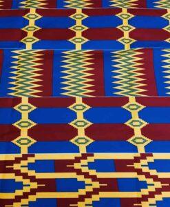 Tissu wax kenté bleu rouge