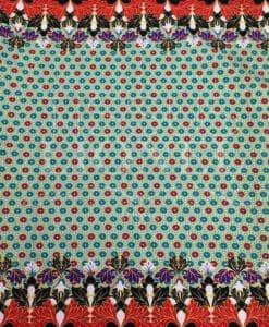 Tissu wax pailleté fleurs d'automne bleu
