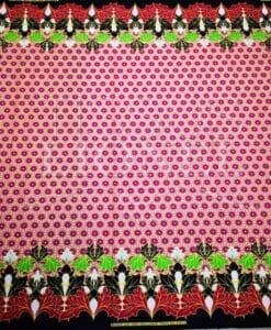 Tissu wax pailleté fleurs d'automne rose