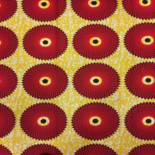 Tissu wax soleil rouge