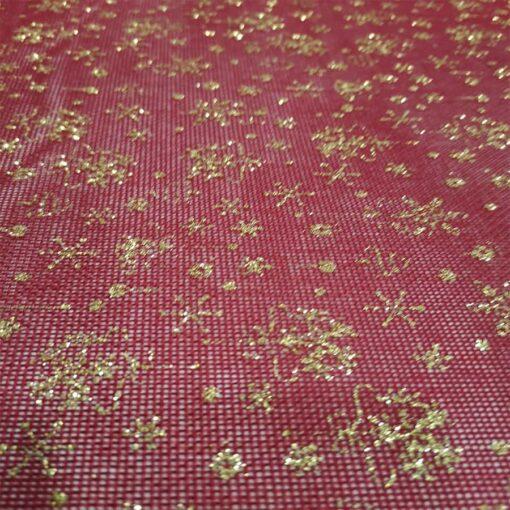 Toile de jute rouge paillette or