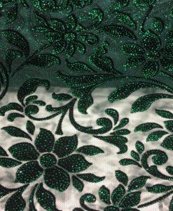 Tulle floqué pailleté noir et vert 1