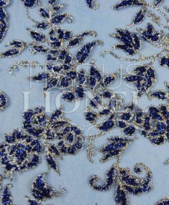 sequined tulle royal blue and silver