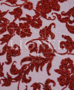 rosso in tulle con paillettes