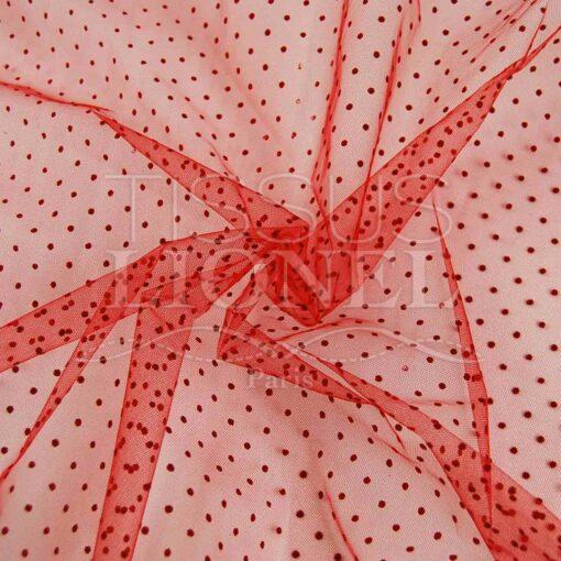 tulle plumtié fond rouge points rouge