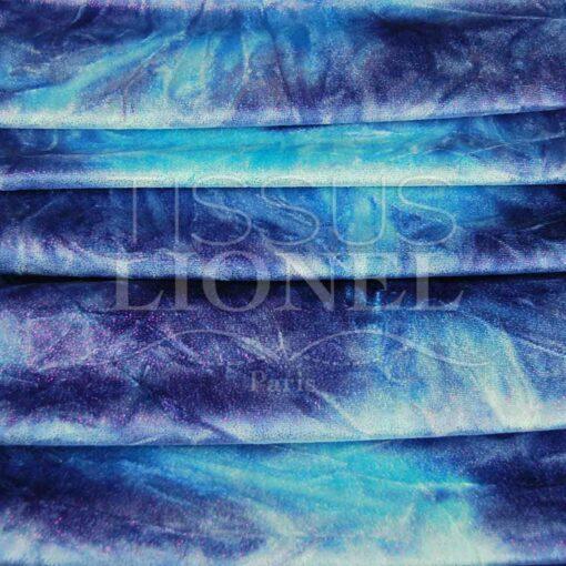 Velour dégradé bleu ciel et bleu royal pailleté fushia