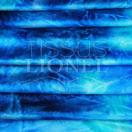 velour dégradé bleu et turquoise pailleté turquoise