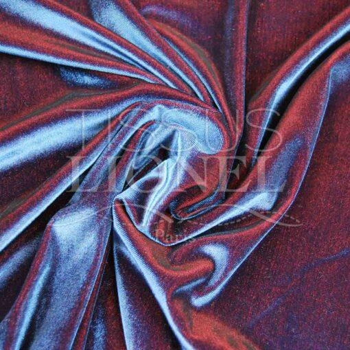 velour lisse changeant marine et rouge