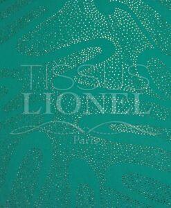 Arabeske grüner Samt mit Pailletten aqua Pailletten Silber