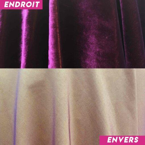 Velours de soie violet changeant jaune envers
