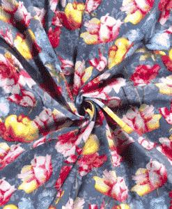 Voile imprimé grosse fleurs indigo 1