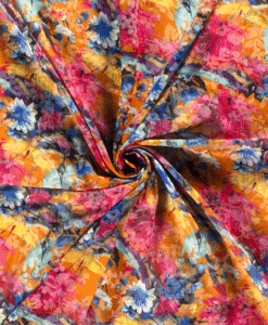 Voile imprimé grosse fleurs orange