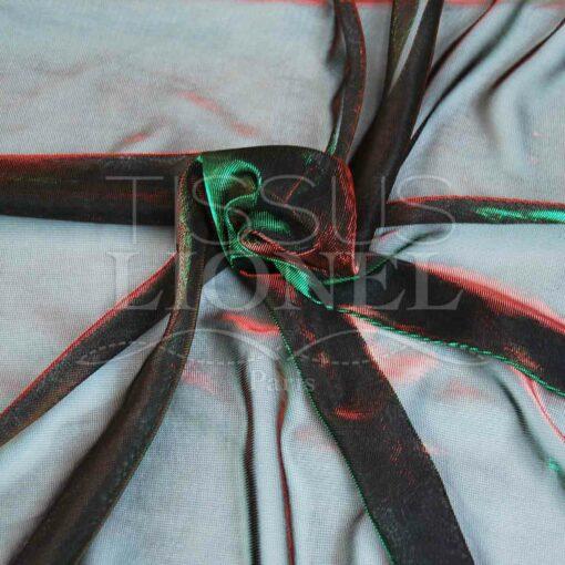 voile lurex changeante rouge et vert